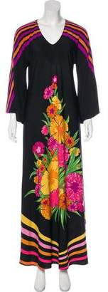 Miguelina Printed Bell-Sleeve Maxi Dress