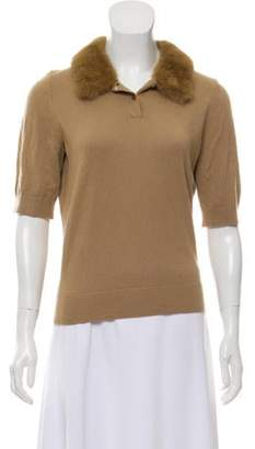 Michael Kors Mink-Trimmed Cashmere Sweater Tan Mink-Trimmed Cashmere Sweater