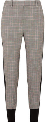 3.1 Phillip Lim Ribbed Knit-trimmed Checked Wool-blend Track Pants - Gray
