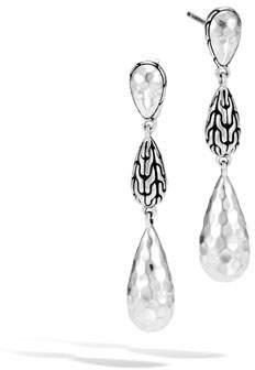 John Hardy Classic Chain Hammered Silver Long Drop Earrings