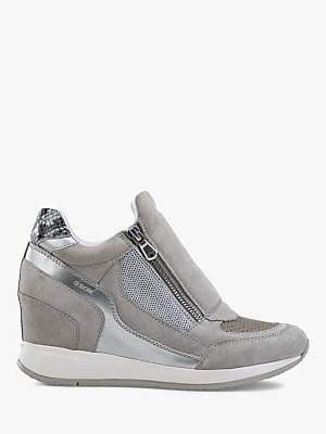 bc486b6fb4 at John Lewis and Partners · Geox Women's Nydame Wedge Heel Zip Up  Trainers, Light Grey Leather