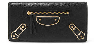 Balenciaga  Balenciaga - Metallic Edge Textured-leather Wallet - Black
