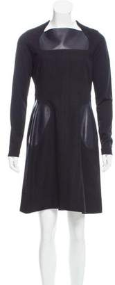Marios Schwab Leather-Accented Wool Dress