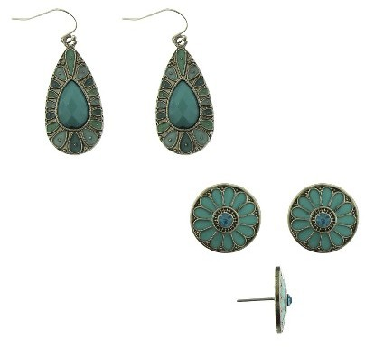 Qingdao Rihong Handicraft Article Co. Woman's Round Flower Studs with Epoxy and Teardrop Earrings with Acrylic Stones