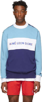 Leon Aime Dore Blue Colorblock Sports Sweatshirt