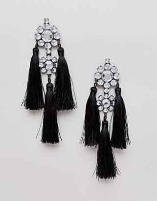 Asos Statement Jewel Drop And Tiered Tassel Earrings
