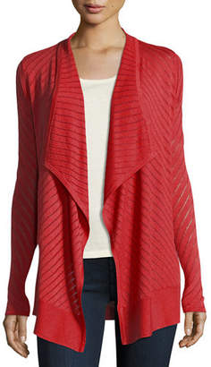 Neiman Marcus Vertical-Striped Draped Cashmere Cardigan