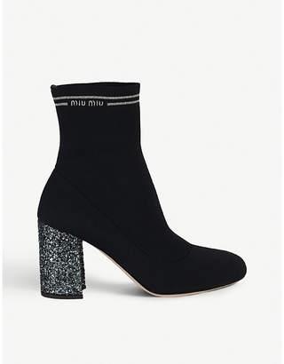 Miu Miu Glitter-heel logo-detail ankle boots