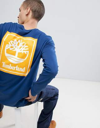 Timberland back box logo long sleeve top blue