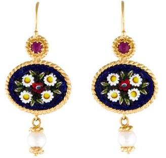 Tagliamonte 18K Pearl, Ruby & Glass Miosotis Earrings