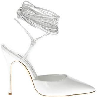 Manolo Blahnik Patent White High Leather Sandals
