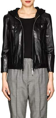 Helmut Lang Women's Hooded Glazed Leather Jacket