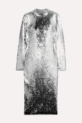 Veronica Beard Nila Sequined Stretch-tulle Midi Dress - Silver