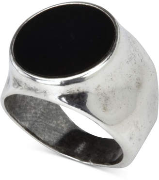 Degs & Sal Men Onyx (12-3/4mm) Hammered Ring in Sterling Silver (Also in Stablized Turquoise)