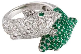 Ring 18K Diamond & Emerald Dolphin