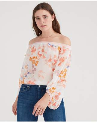 7 For All Mankind Off Shoulder Blouson Top In Loft Garden