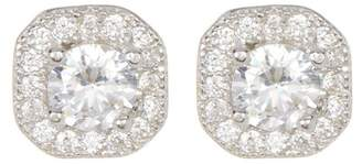 Swarovski ADORNIA Sterling Silver Prong & Halo Set Crystal Accented Stud Earrings