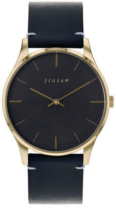 Jigsaw Ladies Watch, Gold Stainless Steel Case, Black Dial, Black Genuine Leather Strap, Japanese Quartz Movement