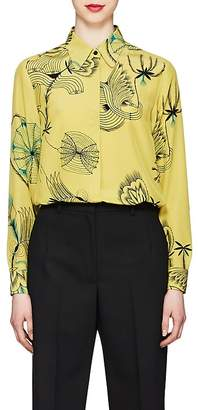 Dries Van Noten Women's Floral-Sketch-Print Silk Blouse