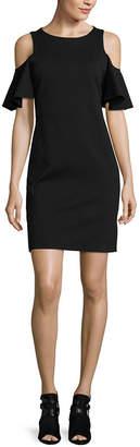 Libby Edelman Short Sleeve Cold Shoulder Bodycon Dress