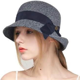 at Amazon Canada · Cloche Ruphedy Woens Floppy Paper Straw Hats Bow Accent  Bucket Suer UPF Beach Sun Hat e66bce59de65