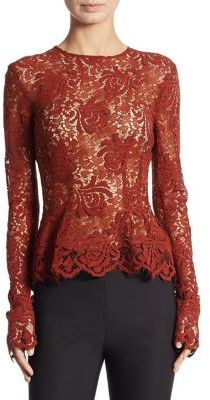 DKNY Long Sleeve Lace Top $249 thestylecure.com