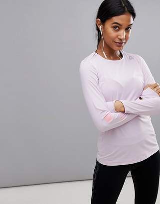Reebok Running Activ-Chill Long Sleeve Top In Lilac