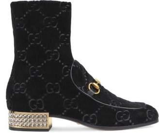 Gucci Horsebit GG velvet boot with crystals