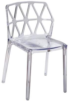 Fine Mod Imports Zig Zag Dining Chair-Color:Clear,Finish:Polycarbonate,Style:Contemporary/Modern