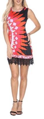 White Mark Women's Sun Flower Printed Crochet Trim Mini Dress