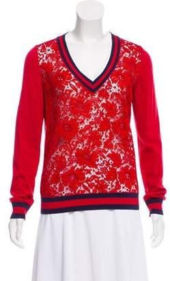 Gucci Lace-Paneled Knit Sweater