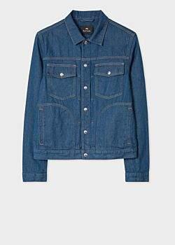 Paul Smith Men's Indigo Rinse Pleat-Front Denim Jacket