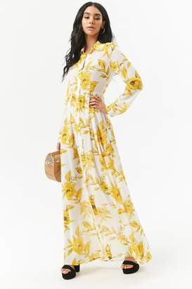 Forever 21 Sheer Floral Chiffon Maxi Shirt Dress