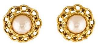 Chanel Faux Pearl & Chain Clip-On Earrings