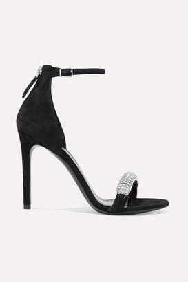 Calvin Klein Camelle Crystal-embellished Suede Sandals - Black