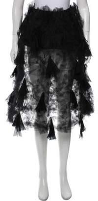 Salvatore Ferragamo Sheer Knee-Lenght Skirt Black Sheer Knee-Lenght Skirt