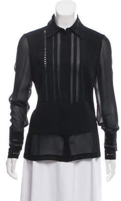 Yigal Azrouel Silk Long Sleeve Button-Up
