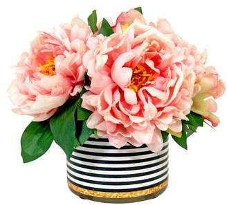 Wildon Home Spring Additions Peony in Striped Pot