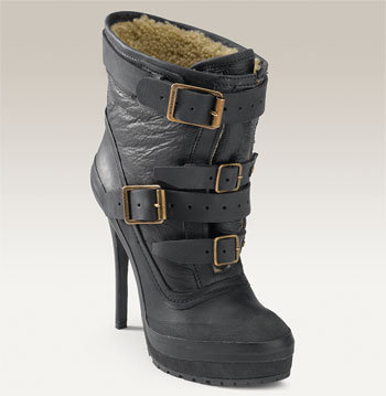 Burberry Genuine Shearling Lined Buckle Bootie