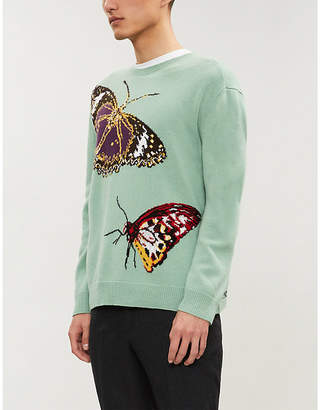 Valentino Butterfly-intarsia wool and cashmere-blend jumper
