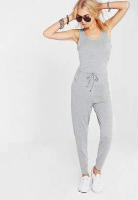 Missguided Grey Sleeveless Tie Waist Jumpsuit, Grey