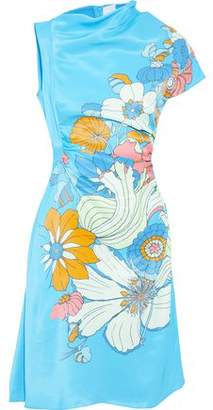 Peter Pilotto One-Shoulder Floral-Print Satin Dress