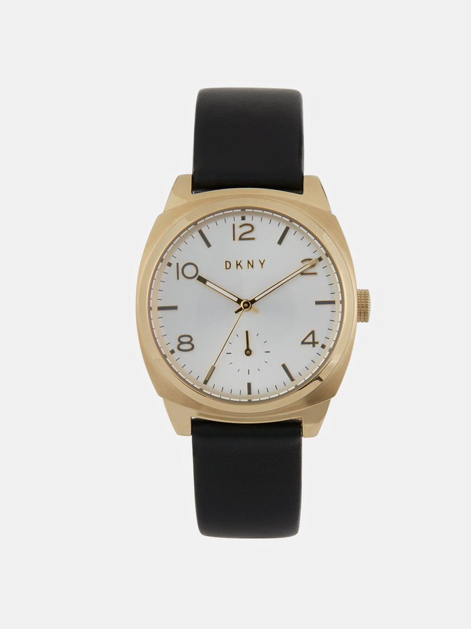 DKNY Broome 36mm Gold-Tone Stainless Steel And Black Leather Watch