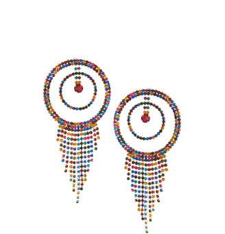 Fragments for Neiman Marcus Multicolor Rhinestone Hoop & Fringe Earrings