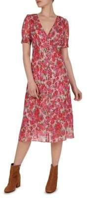 The Kooples Printed Silk Blend Midi Dress
