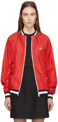 MAISON KITSUNÉ Red Tricolor Fox Patch Bomber Jacket