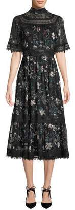 Kate Spade Botanical Chiffon Mock-Neck Midi Dress