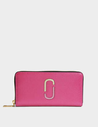 Marc Jacobs Double J Saffiano Standard Continental Wallet in Pink Split Cow Leather