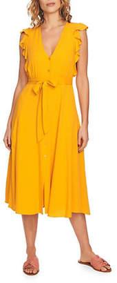 1 STATE Self-Tie Ruffled Midi Dress