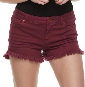 Vanilla Star Juniors' Frayed Midrise Shortie Shorts